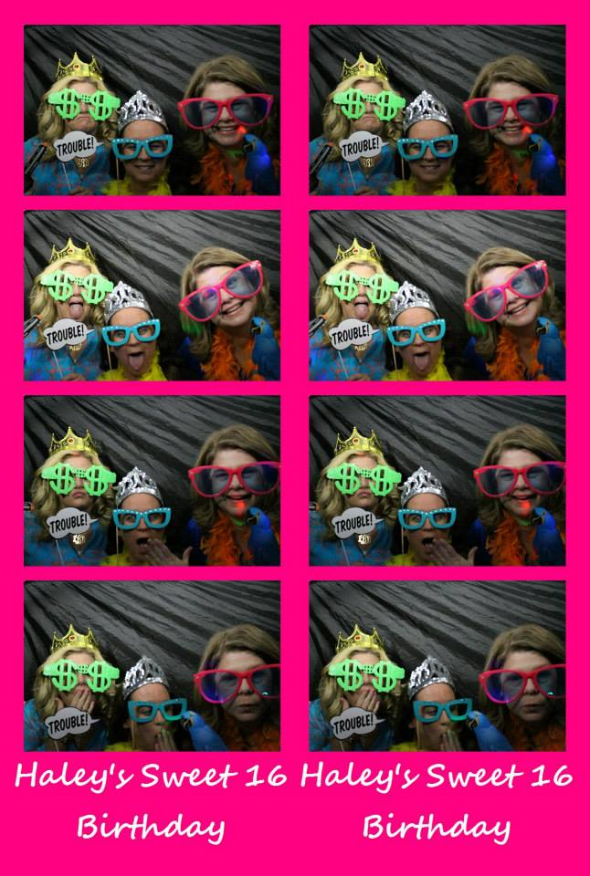 Photo booth collage of girls with glasses